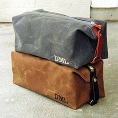 Personalized Dopp Kit, Gift for Him, Groomsmen Gift, Waxed Cotton Canvas and Leather, Monogrammed Toiletry Bag from Sivani Accessories Dopp Kit, Gift Bag Storage, Leather Projects, Toiletry Bag, Groomsman Gifts, Leather Accessories, Leather Craft, Leather Men, Monogram