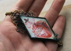 Finished Glass Sacred Heart Necklace by asunder.deviantart.com on @deviantART