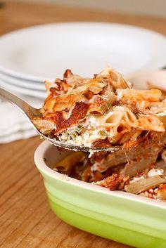 Mom's Goulash (ground meat, tomato paste, tomato sauce, greek yogurt, cottage cheese, green onions, mozzarella cheese)