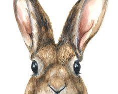 Bunny watercolor print, Bunny watercolor painting, Bunny art print, Bunny painting, Rabbit art print, Rabbit watercolor painting, Rabbit art