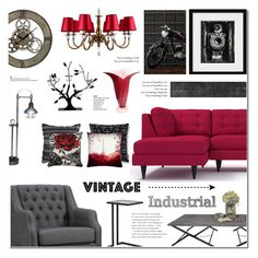 """Vintage Industrial Home decor"" by anyasdesigns ❤ liked on Polyvore featuring interior, interiors, interior design, home, home decor, interior decorating, Andrew Martin, Villa Maison, Dot & Bo and Murano"
