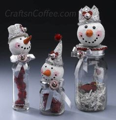 how to make vintage, mixed media snowmen for a Valentine's Day craft