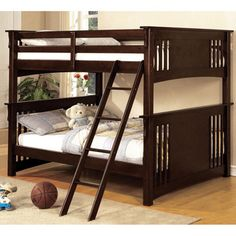 Wiltz Dark Walnut Finish Full Over Full Bunk Bed