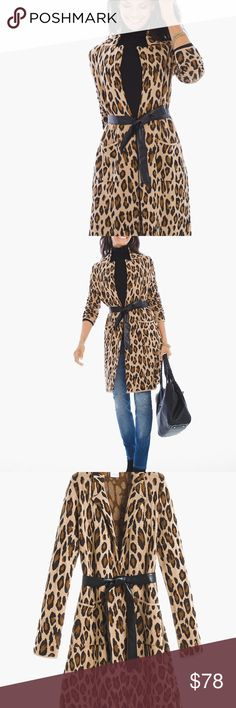"Chicos Belted Animal Jacquard Long Cardigan NWT 10 Chico's Mabel Belted Animal Jacquard Cardigan NWT. Retail: $119.00 Size (8/10 M)  Love us some leopard print.  This soft belted cardigan is fiercely styled with casual front pockets and an inverted lapel. Long sleeves. Faux-leather tie belt included. Front pockets. Regular length: 36.25"". Cotton, rayon. Hand wash.  Imported Chico's Sweaters Cardigans"