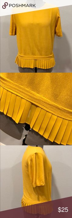 "ZARA pleated hem yellow blouse short sleeves Small Worn several times Marigold color Size Small, length 19.5"" There is a loose stitching on the right sleeve see last picture Beautiful color for spring. Zara Tops Blouses"