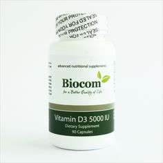 Biocom Vitamin D3 5000 IU 90 kapsula Nutritional Supplements, Evergreen, Vitamins, Shampoo, Vitamin D