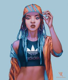 Sport girls Adidas and Nike drawn for practice | 2016  + Adobe Photoshop CC + tablet Wacom Cintiq 27QHD + Original size is 4239 x 5000px + I had 47 layers (Adidas) 36 layers (Nike) + I drew them about 3 hours 46 minutes (Adidas) and 2 hours (Nike)