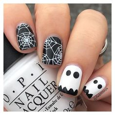 Top 40 Spooktacular Halloween Nail Art Ideas For This Year Nail Polish... ❤ liked on Polyvore featuring beauty products, nail care, nail treatments, nails, makeup, beauty and halloween