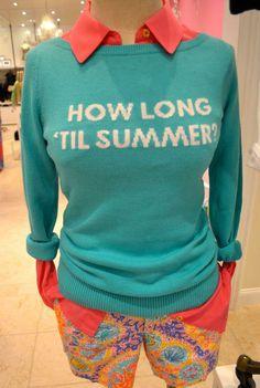 "Lilly Pulitzer Marielle Sweater in ""How Long Till Summer?""---beat teacher sweater"