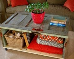 Rustic Living Room Furniture Design With DIY Square Low Coffee Table Using Reclaimed Wood With Bookshelf And Pillow Storage Plus Rattan Basket Ideas