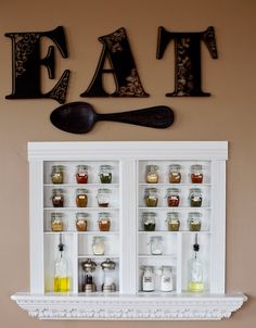 Built-in Spice Shelves to House Pretty Spice Jars with Labels! Love this project! #Brother #LabelIt
