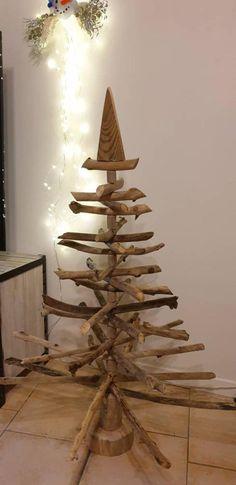 En bois rétro looking arbre de noël gratuit debout décor festif noël display new