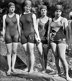 Vintage Flapper 4 Women Swimsuits Photo late 1920s Flappers Jazz Prohibition