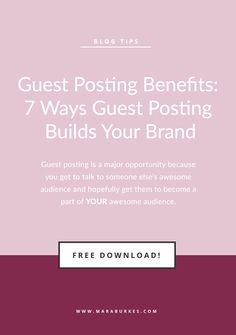 Re-pin and read later! Guest posting is a GREAT way to get out there. Check out the 7 Ways Guest Posting Builds Your Brand so you know you aren't missing something the next time you turn in a guest post!