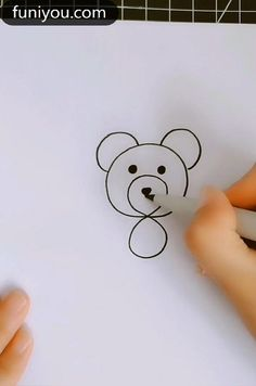 Easy Drawings For Kids, Art Drawings Sketches Simple, Drawing For Kids, Simple Cute Drawings, Bear Drawing, Drawing Ideas, Hand Art Kids, Art For Kids, Draw Animals For Kids