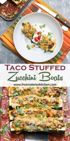These Taco Stuffed Zucchini Boats are one of the most delicious things you can do with your summer zucchini. A wholesome, family-friendly dinner idea. Mexican Food Recipes, Snack Recipes, Dinner Recipes, Healthy Recipes, Mexican Dishes, Turkey Recipes, Healthy Meals, Delicious Recipes, Keto Recipes