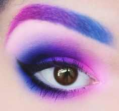 Pink Purple Blue Ombre  This reminds me of a sales associate that I saw at the M.A.C. Counter who did this look.