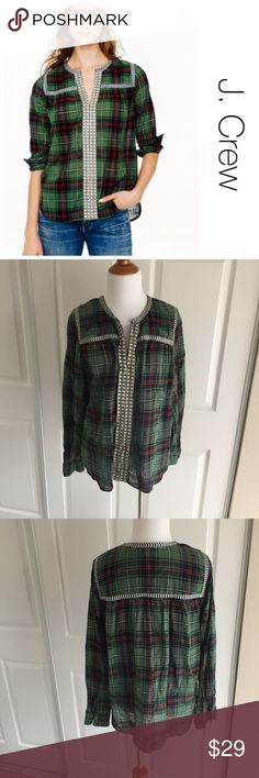 J. Crew embellished tunic size 10 ♦️Excellent condition. No holes, stains or piling.                                                 ♦️Materials- 100 cotton   ♦️Measurements:                               ♦️Laying flat armpit to armpit: approximately 22inches                       ♦️Laying flat from the back of the neck to the bottom of the front hem is approximately 25 inches J. Crew Tops Tees - Long Sleeve