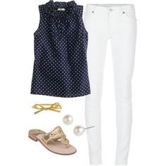 A fashion look from April 2013 featuring blue blouse, skinny pants and gold sandals. Browse and shop related looks.