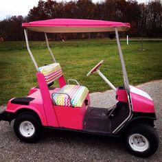 We Upcycled this 1972 golf cart pink and white with colorful chevron vinyl seat that we reupholstered..perfect for our daughters