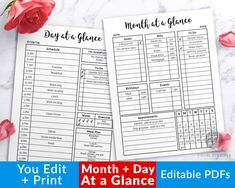 Month at a Glance Printable + Day at a Glance Bullet Journal Printable, Daily Schedule Printable, Monthly Planner, Hourly Schedule, Bujo PDF Daily Schedule Printable, Printable Planner Pages, Planner Template, Printables, Hourly Planner, Planner Inserts, As You Like, Templates, Check Box