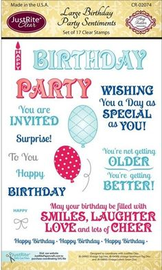 """Large Birthday Party Sentiments - $16.95 Great birthday sentiments! 17 clear stamps. Approximately .5""""X.25"""" to 1.25"""" X 1.375"""". Works with    JB-04905 Vintage Tag dies, JB-04900 Vintage Sentiment Tag dies and JB-04895 Vintage Labels Seven dies Acrylic blocks"""