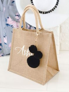 Bridesmaid Tote Bags, Bridesmaid Gifts, Pom Pom Bag Charm, Burlap Tote, Jute Bags, Gift Bags, Decoration, Friends Family, Wedding