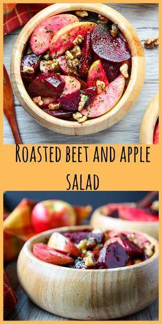Roasted Beet, Apple and Walnut Salad is healthy, easy and delicious. #beet salad #beet salad recipe #roasted beets #beets