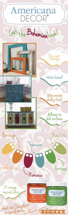 Get the bohemian look with Americana Decor Chalky Finish. #decoartprojects