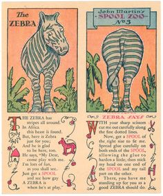 The Zebra spool toy card Vintage Paper Dolls, Vintage Sewing, Paper Toys, Paper Crafts, Paper Birds, Doll Painting, Magazines For Kids, Scrapbook Cards, Scrapbooking