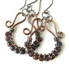 Beaded hoop earrings brown & blue faceted Czech by dalystudios