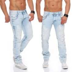 Jeansnet Herren Jeans Hose Crotch Chino Pant Skinny Bleached Destroyed-Look 7098