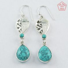 Christmas Gift !! 925 Sterling Silver Blue Turquoise Stones Earrings #SilvexImagesIndiaPvtLtd #DropDangle