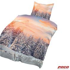 Zur Zeit leider online nicht bestellbar! Eine schöne Winterlandschaft für einen guten Start in den Tag. Kissenbezug: ca. 80 x 80 cm, Bezug: ca. 135 x 200 cm #weihnachten