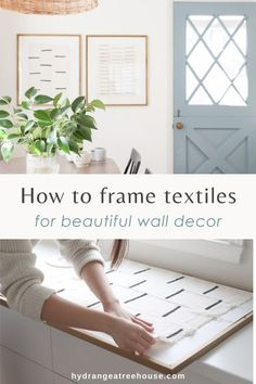 how to frame textiles, diy mudcloth wall art, african mud cloth art and crafts DIY project, how to hang fabrics on frame Hanging Fabric, Framed Fabric, Fabric Wall Art, Diy Wall Art, Wall Ideas, Diy Ideas, Decor Ideas, Craft Ideas, Large Wall Art Cheap