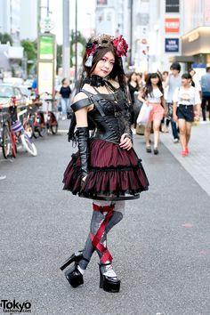 Harajuku Gothic Lolita in Na+H Corset, Harness, Ribbon Tights & Masquerade Mask