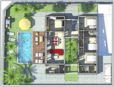 Casa com jardim interior e piscina