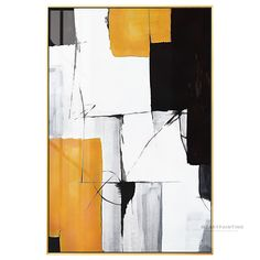 Framed Wall Art Geometric Abstract White Bright Yellow Black Print Painting on Canvas Colors Wall Cuadros Grandes Abstract Print Painting Abstract Canvas Art, Oil Painting Abstract, Canvas Wall Art, Painting Art, Watercolor Painting, Frames On Wall, Framed Wall Art, Modern Art Paintings, Indian Paintings