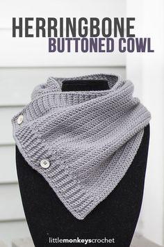 Herringbone Buttoned Cowl Crochet Pattern | Free button cowl crochet pattern by…