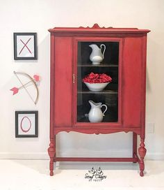 red 1930's jacobean style china cabinet - painted furniture - painted cabinet #affiliate
