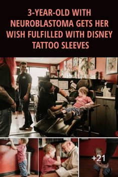 3-YEAR-OLD WITH #NEUROBLASTOMA GETS HER #WISH #FULFILLED WITH #DISNEY #TATTOO #SLEEVES