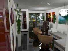 Edificio FENIX en Medellin Colombia.  Modelo elaborado en Sketchup 2014, Renderizador Vray y postproducción en Fotoshop CC.  Escena nocturna del apartamento modelo