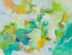 Abstract Painting Green Yellow Spring by kerriblackmanfineart, $80.00