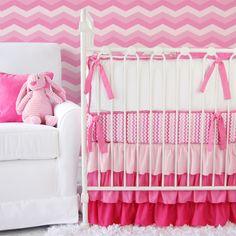 Pink Ruffled Chevron Crib Bedding from Caden Lane #nursery