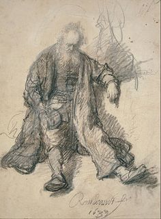 Study for Drunk Lot - Rembrandt van Rijn. 1633. Black chalk on paper. 25.1 x 18.9 cm. Stadelsches Kunstinstitut, Frankfurt, Germany.