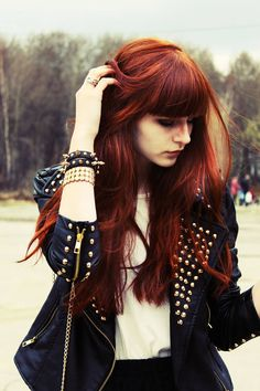 beautyful hair color and cool jacket