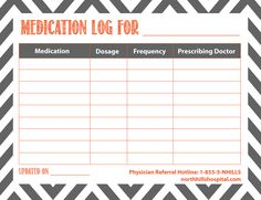 Free printable medication log (I would want to make my own because I'd want the categories to be different but I'm sure some of my followers will like it how it is. If not, it'll give you an idea like it did me! :D)