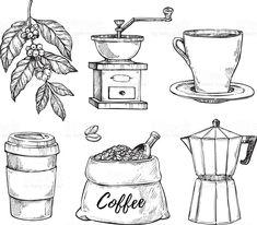 coffee doodle Coffee vintage hand drawn sketch set vetor de coffee vintage hand drawn sketch set e mais banco de imagens de antigo royalty-free Café Vintage, Vintage Coffee, Coffee Bean Bags, Coffee Beans, Coffee Set, Coffee Cups, Coffee Drinks, Vieux Pianos, Coffee Doodle