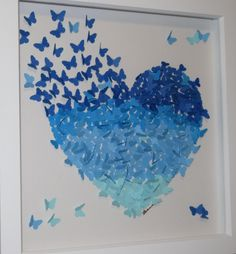 """30 x 30cm Framed 3D Blue Ombre Butterfly Heart Picture Decor, 3D Wall Art 12"""" x 12"""" by CornishMaidCrafts on Etsy"""