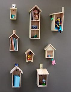 Birdhouse shelves, kids room shelving, girls bedrooms, shelving for kids bedrooms, rooms, designer